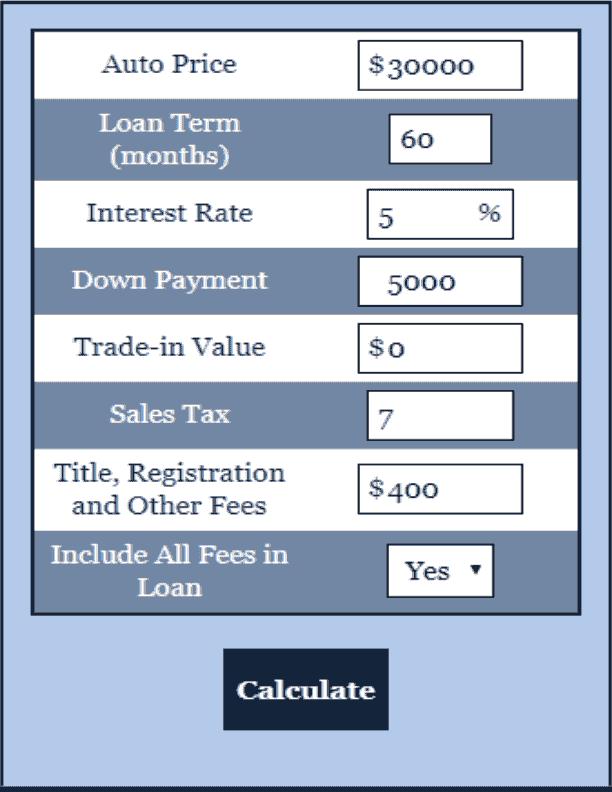 Car Payment Calculator Choose A Car Payment Calculator